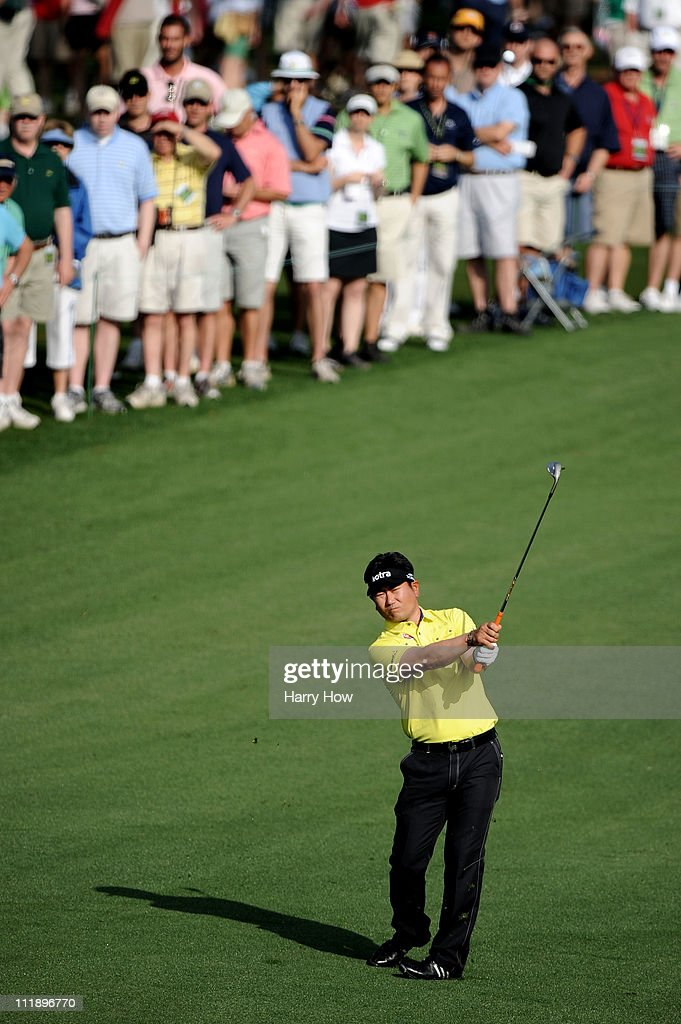 E Yang of South Korea hits a shot to the second green during the second round of the 2011 Masters Tournament at Augusta National Golf Club on April 8...