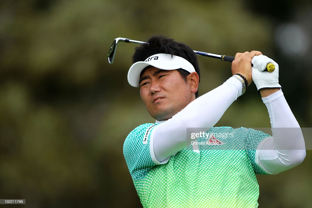 E Yang of South Korea hits a tee shot on the 12th hole during the second round of the 110th US Open at Pebble Beach Golf Links on June 18 2010 in...