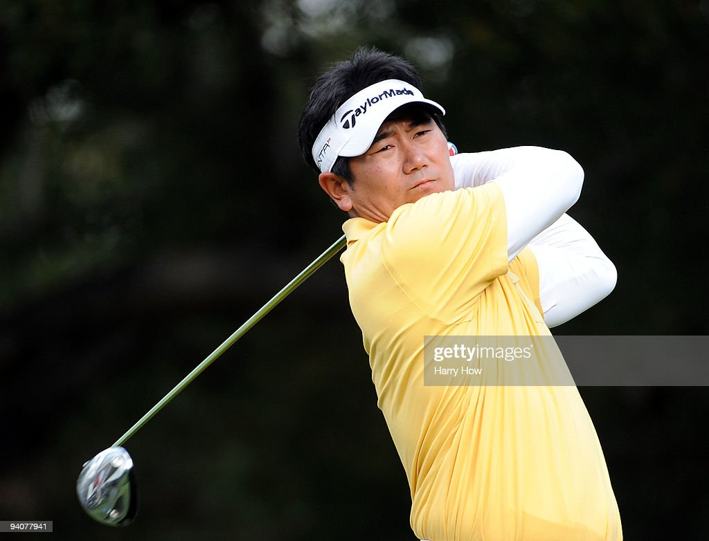 E Yang of South Korea hits a tee shot on the sixth hole during the fourth round of the Chevron World Challenge at Sherwood Country Club on December 6...