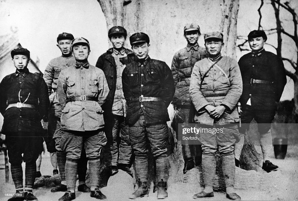Yang Shangkun with part of the leading cadres of the 1st and the 15th army groups of the Chinese Red Army in Chunhua Shaanxi after the victory of the...