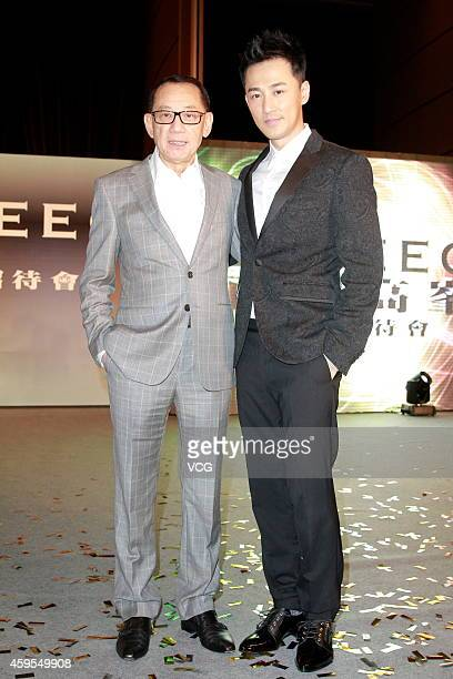 Yang Shoucheng chairman of Emperor Entertainment Group and actor Raymond Lam attend press conference of Raymond Lam joining in EEG on November 24...