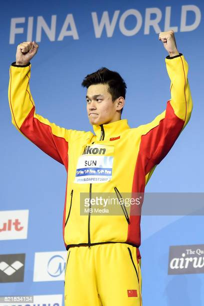 Yang Sun during Medal Ceremony for the Men's 400m Freestyle of the Budapest 2017 FINA World Championships on July 23 2017 in Budapest Hungary
