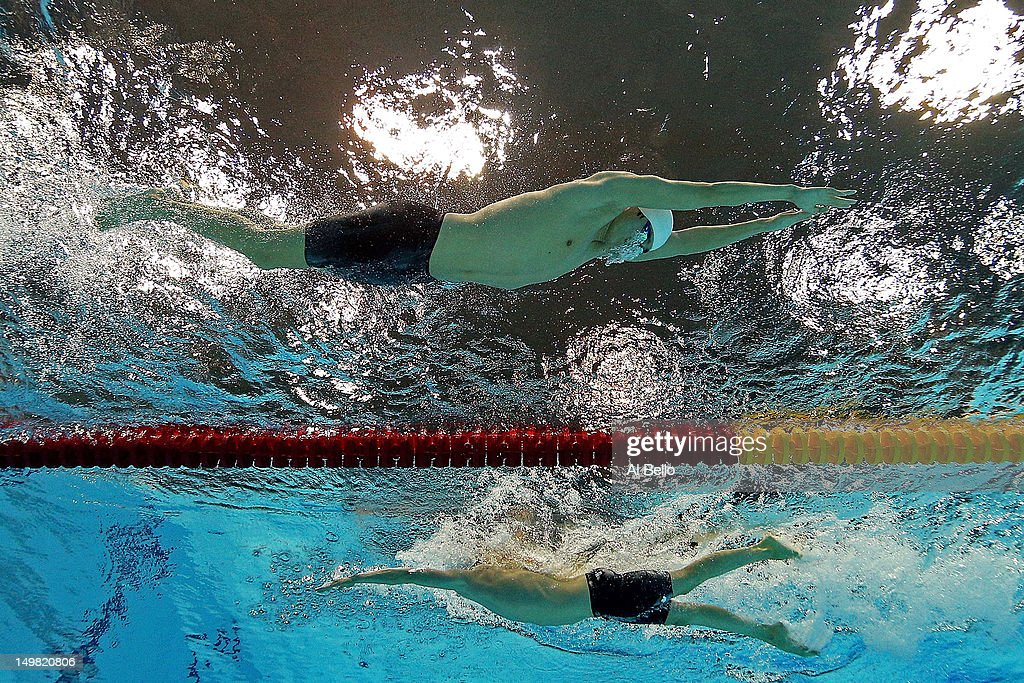 Yang Sun of China and Ryan Cochrane of Canada compete in the Men's 1500m Freestyle Final on Day 8 of the London 2012 Olympic Games at the Aquatics Centre on August 4, 2012 in London, England.