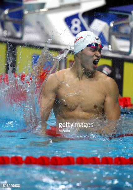 Yang Sun of China celebrates winning gold in the Men's 400m Freestyle Final on day ten of the Budapest 2017 FINA World Championships on July 23 2017...