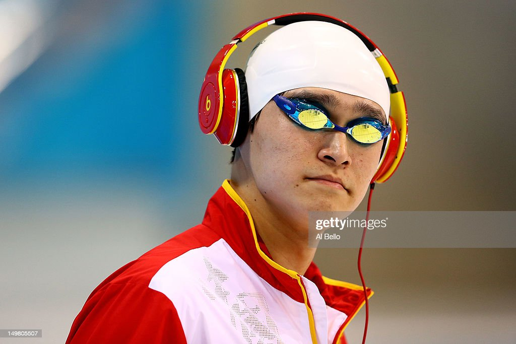 Yang Sun of China looks on ahead of the start of the Men's 1500m Freestyle Final on Day 8 of the London 2012 Olympic Games at the Aquatics Centre on August 4, 2012 in London, England.