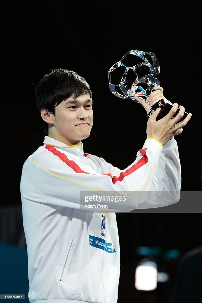 Yang Sun of China wins the award for 'Best Male Swimmer' on day sixteen of the 15th FINA World Championships at Palau Sant Jordi on August 4, 2013 in Barcelona, Spain.