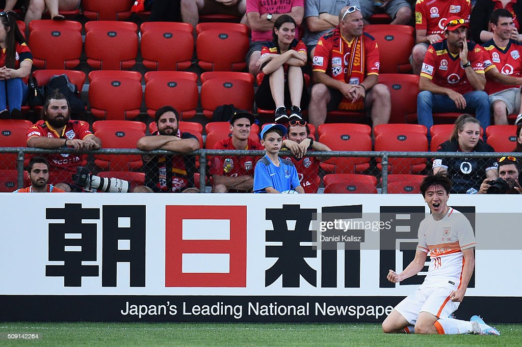 Yang Xu of Shandong Luneng reacts after scoring during the AFC Champions League playoff match between Adelaide United and Shandong Luneng at Coopers Stadium on February 9, 2016 in Adelaide, Australia.