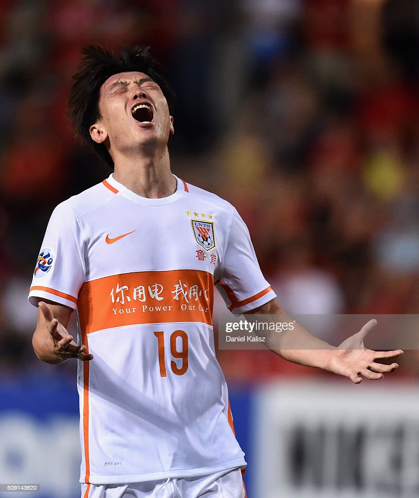 Yang Xu of Shandong Luneng reacts during the AFC Champions League playoff match between Adelaide United and Shandong Luneng at Coopers Stadium on February 9, 2016 in Adelaide, Australia.