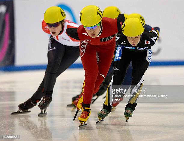Yang Yang of China leads the Ladies 1500 M Semifinal during day one of ISU World Cup Short Track Speed Skating during at EnergieVerbund Arena on...