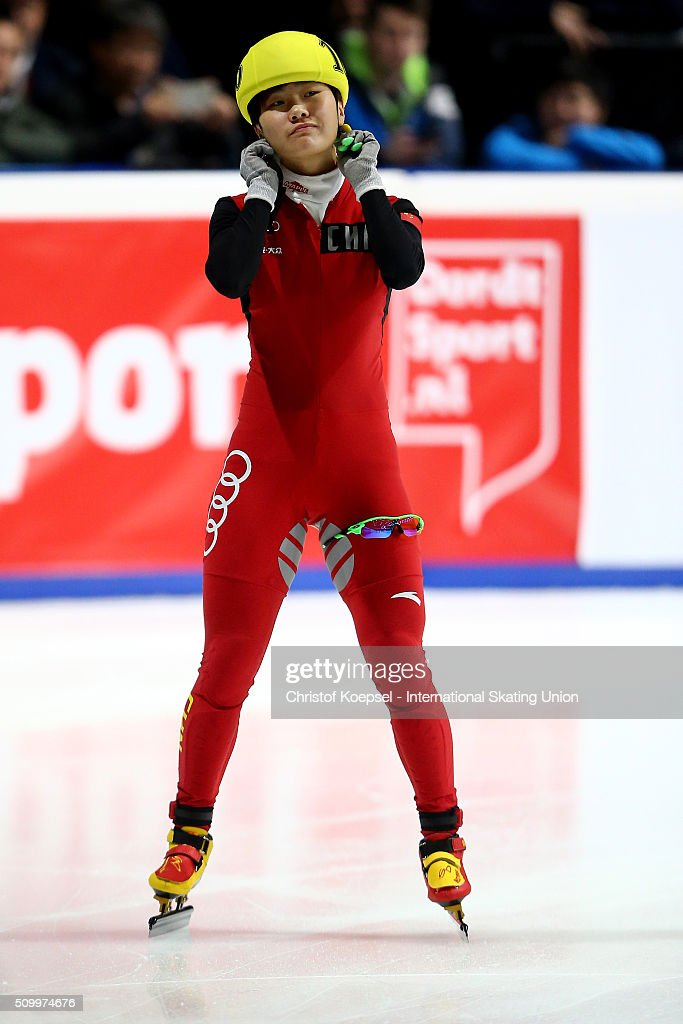 Yang Yang of China prepares prior to the ladies 1000m final A during Day 2 of ISU Short Track World Cup at Sportboulevard on February 13, 2016 in Dordrecht, Netherlands.