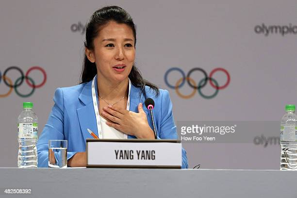 Yang Yang of China speaks to the press during the 128th IOC Session on July 31 2015 in Kuala Lumpur Malaysia
