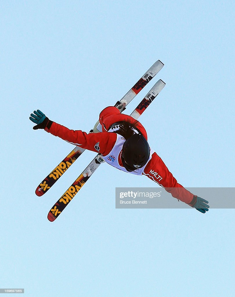Yang Yu #4 of China competes in the qualification round of the USANA Freestyle World Cup aerial competition at the Lake Placid Olympic Jumping Complex on January 18, 2013 in Lake Placid, New York.