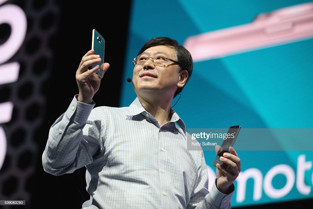 Yang Yuanqing Lenovo CEO reveals the Moto Z Family and Moto Mods ecosystem at Lenovo Tech World at The Masonic Auditorium on June 9 2016 in San...