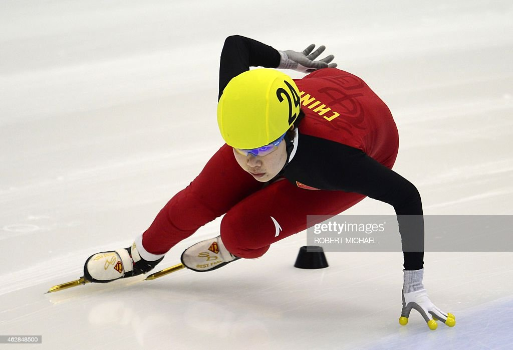 Yang Zhou of China competes during the women's 1500m heat race of the ISU World Cup short track speed skating event in Dresden, eastern Germany, on February 6, 2015.