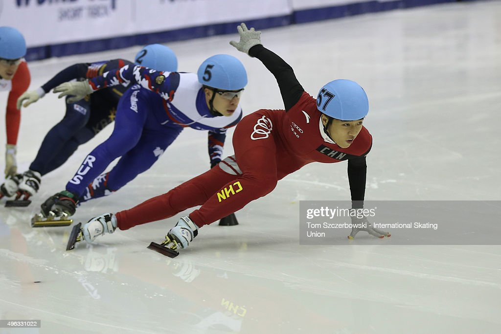 Yang Zhou of China competes on Day 2 of the ISU World Cup Short Track Speed Skating competition at MasterCard Centre on November 8, 2015 in Toronto, Ontario, Canada.