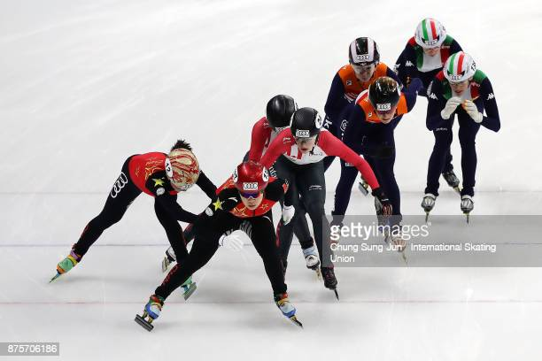 Yang Zhou of China Kim Boutin of Canada Yara van Kerkhof of Netherlands and Martina Valcepina of Italy compete in the Ladies 3000m Relay Semifinals...