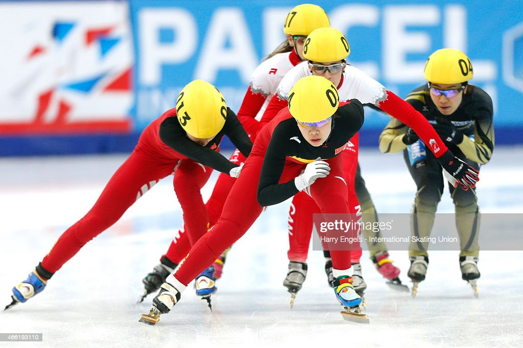 Yang Zhou of China leads the pack during the Ladies' 3000m Relay Semifinal on day two of the ISU World Short Track Speed Skating Championships at the Krylatskoe Speed Skating Centre on March 14, 2015 in Moscow, Russia.