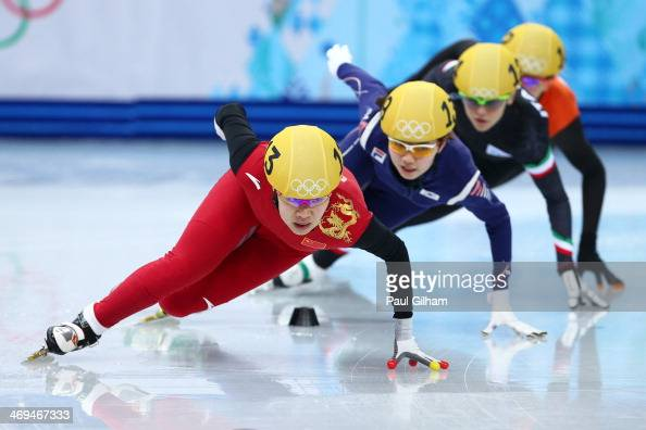 Yang Zhou of China leads the pack on the way to winning the gold medal during the Ladies' 1500 m Final Short Track Speed Skating on day 8 of the...
