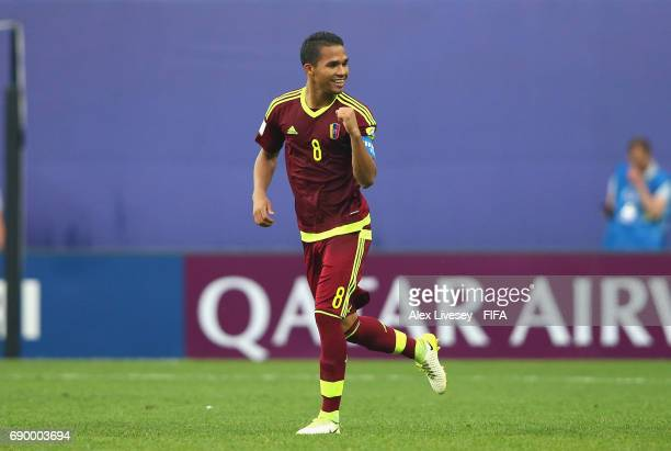 Yangel Herrera of Venezuela celebrates after scoring the opening goal in extra time during the FIFA U20 World Cup Korea Republic 2017 Round of 16...