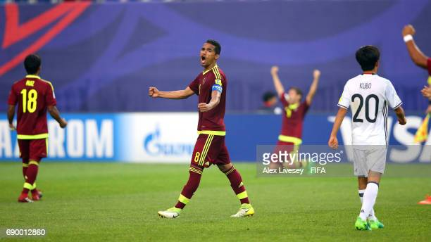 Yangel Herrera of Venezuela celebrates victory over Japan on the final whistle during the FIFA U20 World Cup Korea Republic 2017 Round of 16 match...