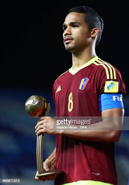 Yangel Herrera of Venezuela poses with the Bronze Ball Award after the FIFA U20 World Cup Korea Republic 2017 Final between Venezuela and England at...
