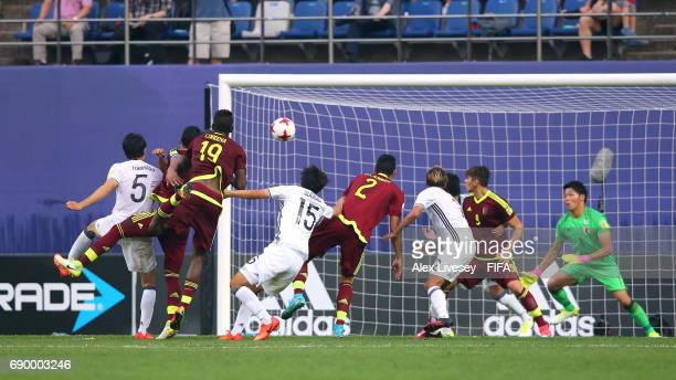 Yangel Herrera of Venezuela scores the opening goal in extra time during the FIFA U20 World Cup Korea Republic 2017 Round of 16 match between...