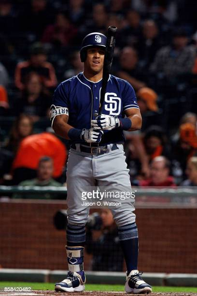 Yangervis Solarte of the San Diego Padres at bat against the San Francisco Giants during the first inning at ATT Park on September 29 2017 in San...