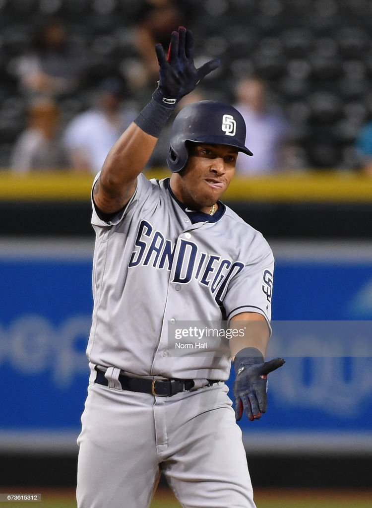 Yangervis Solarte #26 of the San Diego Padres gestures to his bench from second base after hitting a two run double off of Fernando Rodney #56 of the Arizona Diamondbacks during the ninth inning at Chase Field on April 26, 2017 in Phoenix, Arizona. Padres 8-5.