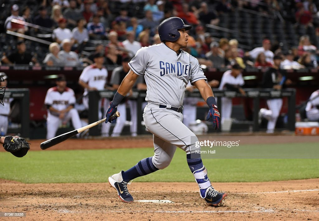 Yangervis Solarte #26 of the San Diego Padres hits a two run double off of Fernando Rodney #56 of the Arizona Diamondbacks during the ninth inning at Chase Field on April 26, 2017 in Phoenix, Arizona. Padres 8-5.