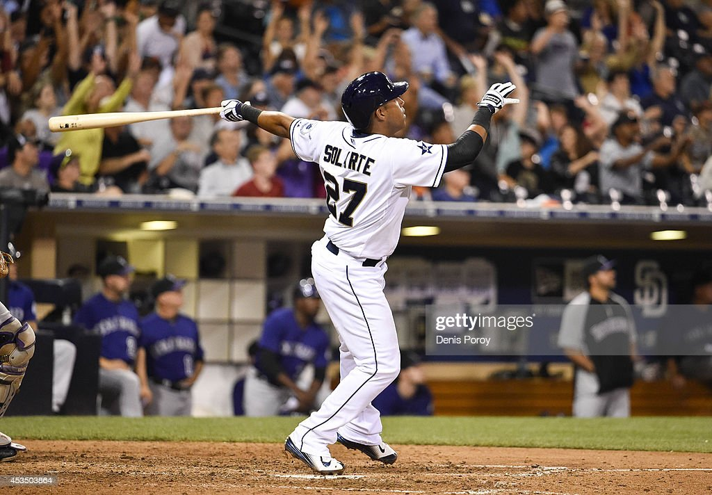 Yangervis Solarte #27 of the San Diego Padres hits a two run home run during the seventh inning of a baseball game against the Colorado Rockies at Petco Park August, 11, 2014 in San Diego, California.