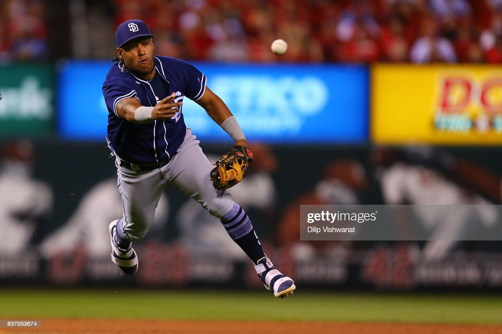 Yangervis Solarte #26 of the San Diego Padres throws the ball to first base against the St. Louis Cardinals in the sixth inning at Busch Stadium on August 22, 2017 in St. Louis, Missouri.