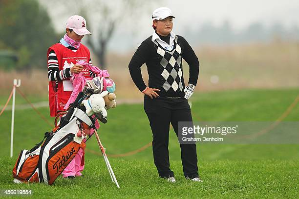 Yanhong Pan of China looks on during day three of the 2014 Reignwood LPGA Classic at Reignwood Pine Valley Golf Club on October 4 2014 in Beijing...