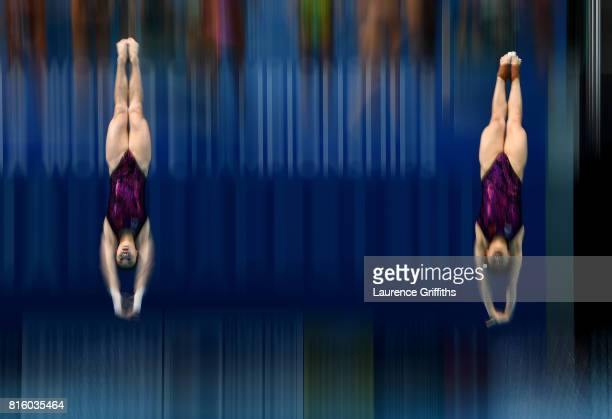 Yani Chang and Tingmao Shi of China practice ahead of their Womens 3m Sychro Springboard Final on day four of the Budapest 2017 FINA World...