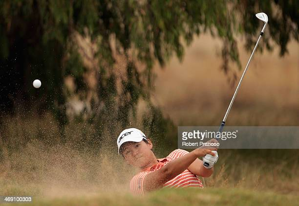 Yani Tseng of Chinese Taipei plays a shot on the 11th hole during day one of the ISPS Handa Women's Australian Open at The Victoria Golf Club on...