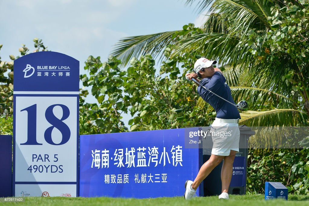 Yani Tseng of Chinese Taipei plays a shot on the 18th hole during the third round of the Blue Bay LPGA at Jian Lake Blue Bay golf course on November 10, 2017 in Hainan Island, China.