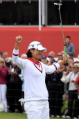 Yani Tseng of Taiwan celebrates victory on the 18th green during the final round of the 2011 Ricoh Women's British Open at Carnoustie Golf Links on...
