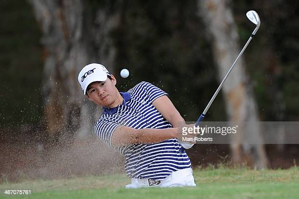 Yani Tseng of Taiwan chips from the bunker on the 15th hole during day one of the 2014 Ladies Masters at Royal Pines Resort on February 6 2014 on the...