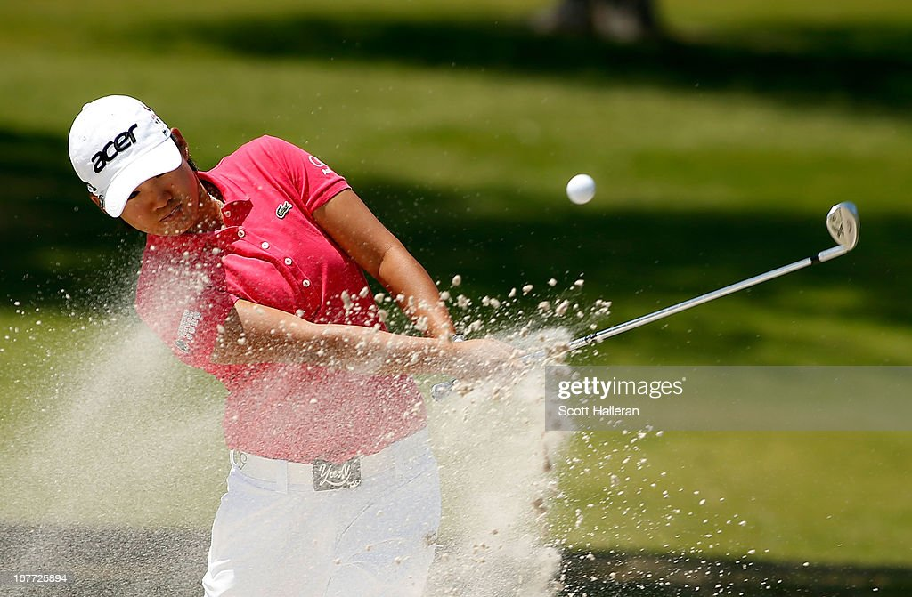 Yani Tseng of Taiwan hits a bunker shot during the final round of the 2013 North Texas LPGA Shootout at the Las Colinas Counrty Club on April 28, 2013 in Irving, Texas.