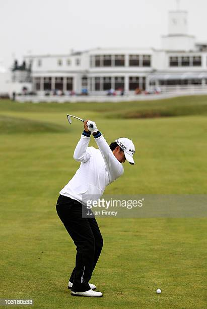 Yani Tseng of Taiwan hits her approach to the 18th green during the third round of the 2010 Ricoh Women's British Open at Royal Birkdale on July 31...