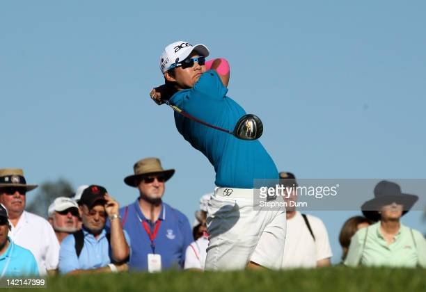 Yani Tseng of Taiwan hits her tee shot on the 12th hole during the second round of the Kraft Nabisco Championship at Mission Hills Country Club on...