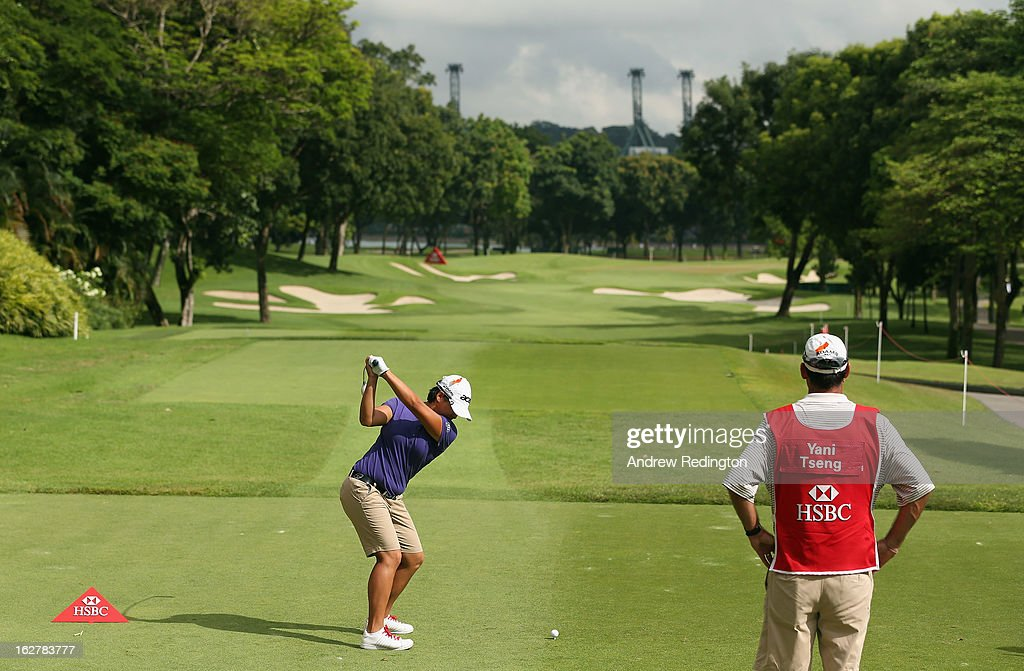 <a gi-track='captionPersonalityLinkClicked' href=/galleries/search?phrase=Yani+Tseng&family=editorial&specificpeople=4682916 ng-click='$event.stopPropagation()'>Yani Tseng</a> of Taiwan hits her tee-shot on the tenth hole during the Pro Am event prior to the start of the HSBC Women's Champions at the Sentosa Golf Club on February 27, 2013 in Singapore, Singapore.