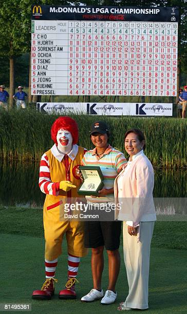 Yani Tseng of Taiwan is presented with her Rolex watch as first time winner on the LPGA tour by the LPGA Tour commissioner Carolyn F Bivens and...