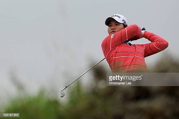 Yani Tseng of Taiwan tees off during the second round of the 2010 Ricoh Women's British Open at Royal Birkdale on July 30 2010 in Southport England