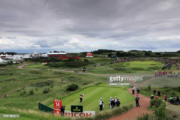 Yani Tseng of Taiwan tees off on the 14th hole during the third round of the 2010 Ricoh Women's British Open at Royal Birkdale on July 31 2010 in...