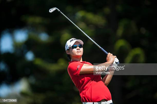 Yani Tseng of Taiwan tees off on the 2nd hole during day one of the Sunrise LPGA Taiwan Championship at the Sunrise Golf Course on October 25 2012 in...