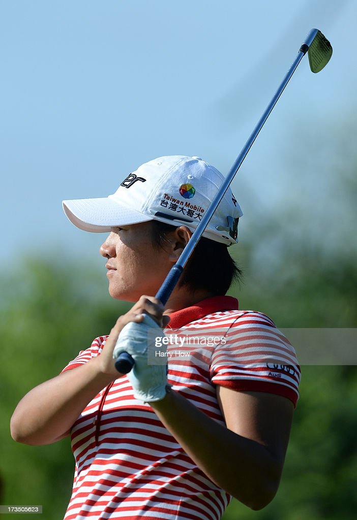 <a gi-track='captionPersonalityLinkClicked' href=/galleries/search?phrase=Yani+Tseng&family=editorial&specificpeople=4682916 ng-click='$event.stopPropagation()'>Yani Tseng</a> of Taiwan watches her tee shot on the third hole during round two of the Manulife Financial LPGA Classic at the Grey Silo Golf Course on July 12, 2013 in Waterloo, Canada.