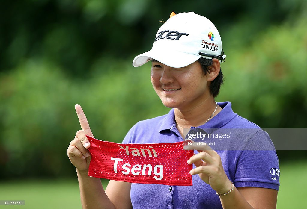<a gi-track='captionPersonalityLinkClicked' href=/galleries/search?phrase=Yani+Tseng&family=editorial&specificpeople=4682916 ng-click='$event.stopPropagation()'>Yani Tseng</a> of Tiawan during the pro-am event prior to the start of the HSBC Women's Champions at the Sentosa Golf Club on February 27, 2013 in Singapore, Singapore.