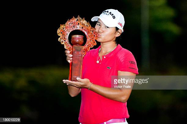 Yani Tseng poses with the trophy after winning the Sunrise LPGA Taiwan Championship at Sunrise Golf Course on October 23 2011 in Taoyuan Taiwan
