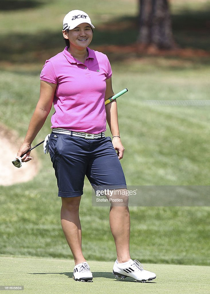 <a gi-track='captionPersonalityLinkClicked' href=/galleries/search?phrase=Yani+Tseng&family=editorial&specificpeople=4682916 ng-click='$event.stopPropagation()'>Yani Tseng</a> reacts to a playing partners putt during practice ahead of the ISPS Handa Australian Open at Royal Canberra Golf Club on February 13, 2013 in Canberra, Australia.
