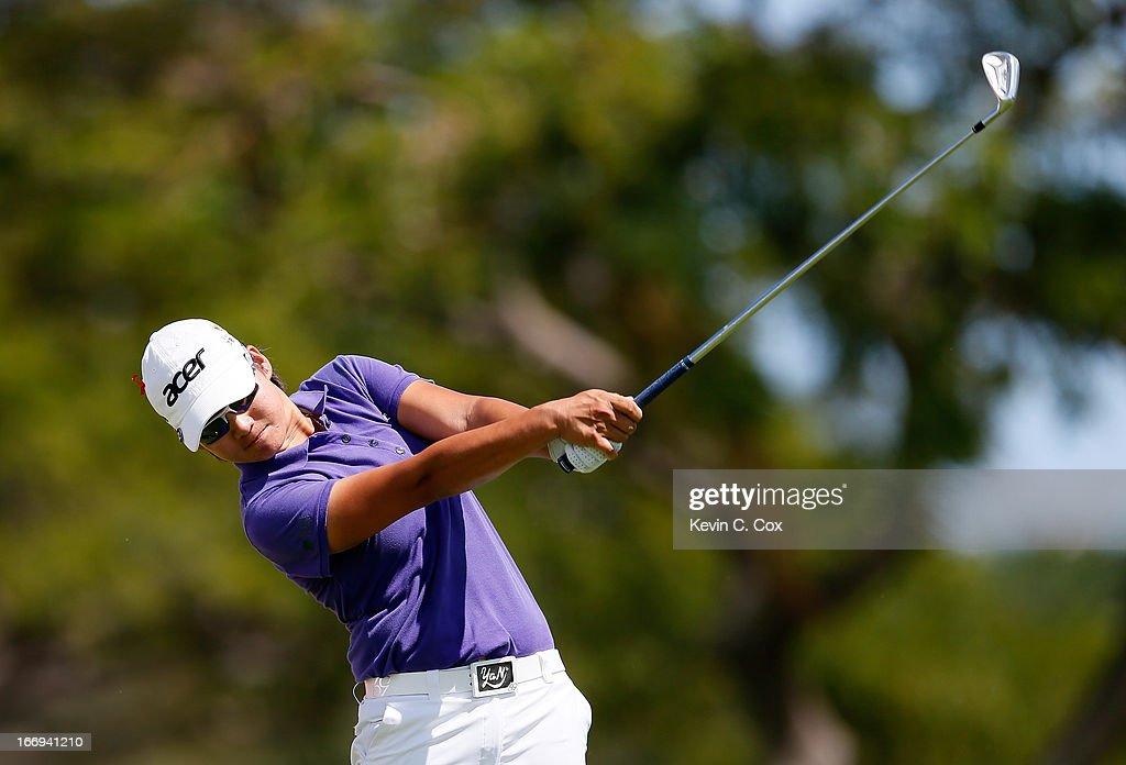 <a gi-track='captionPersonalityLinkClicked' href=/galleries/search?phrase=Yani+Tseng&family=editorial&specificpeople=4682916 ng-click='$event.stopPropagation()'>Yani Tseng</a> tees off the eighth hole during the second round of the LPGA LOTTE Championship Presented by J Golf at the Ko Olina Golf Club on April 18, 2013 in Kapolei, Hawaii.